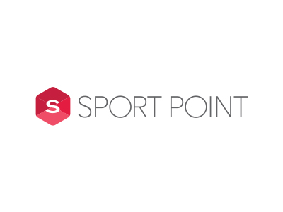 Rødt, gråt og hvidt bogstavlogo for Sport Point